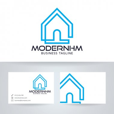 Modern home vector logo with business card template stock vector