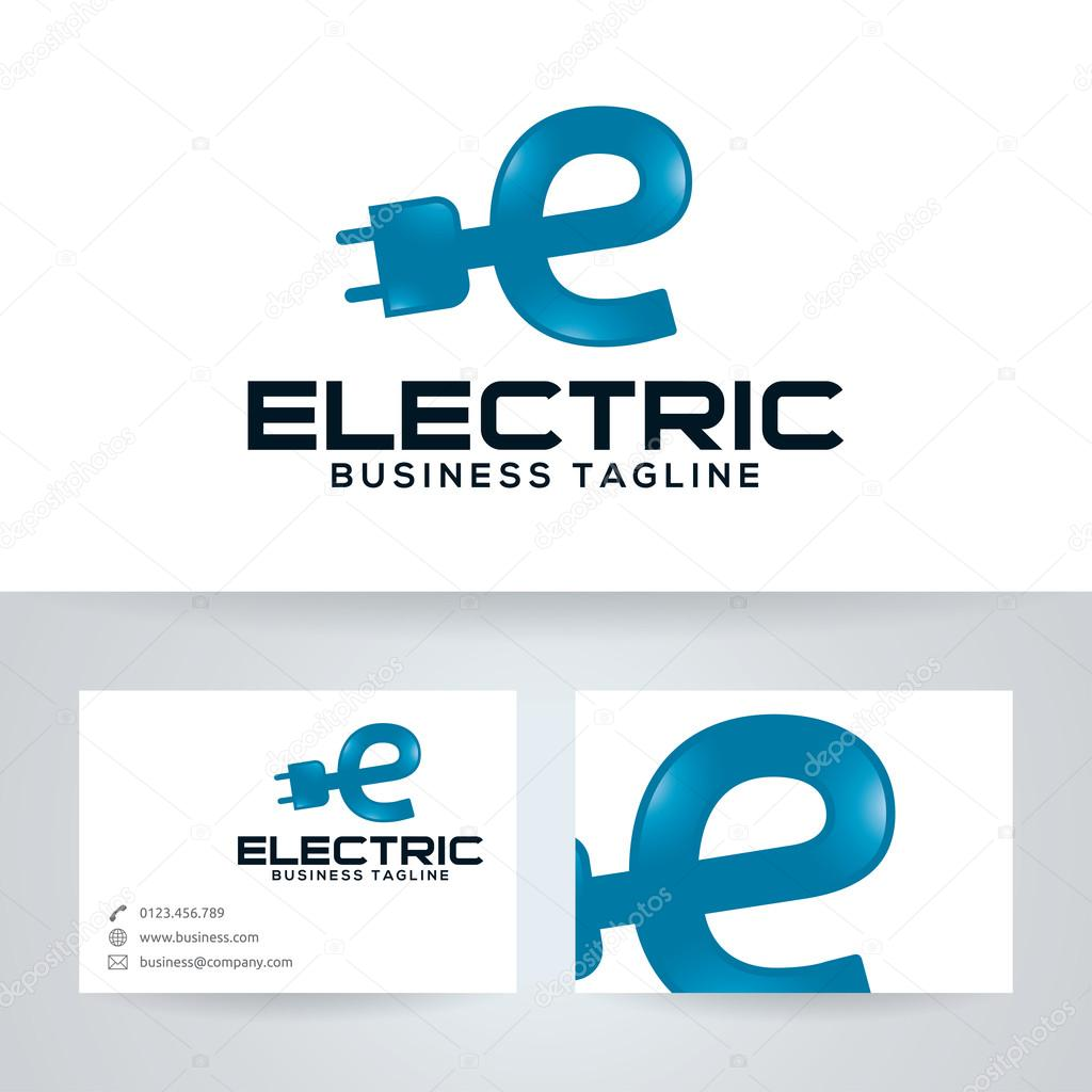 Electric Energy Vector Logo With Business Card Template Stock