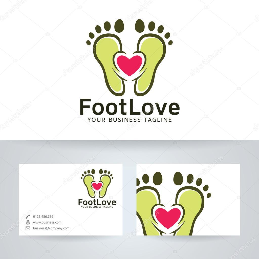 Logo Vectoriel Amour Avec Modle De Carte Visite Du Pied Image Vectorielle