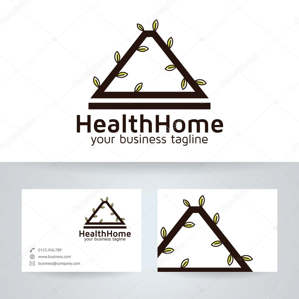 Health home vector logo with business card template