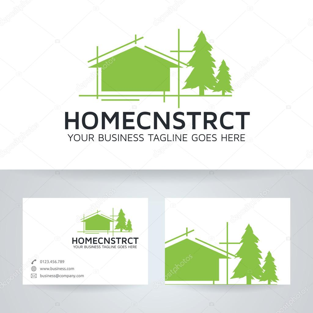 Logo Vectoriel Construction Maison Avec Modle De Carte Visite Image Vectorielle