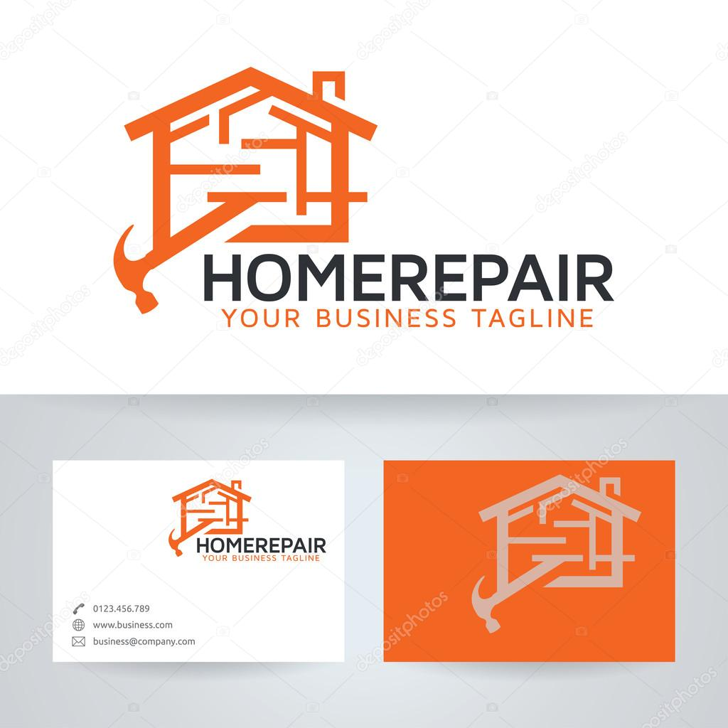 Home repair vector logo with business card template — Stock Vector ...