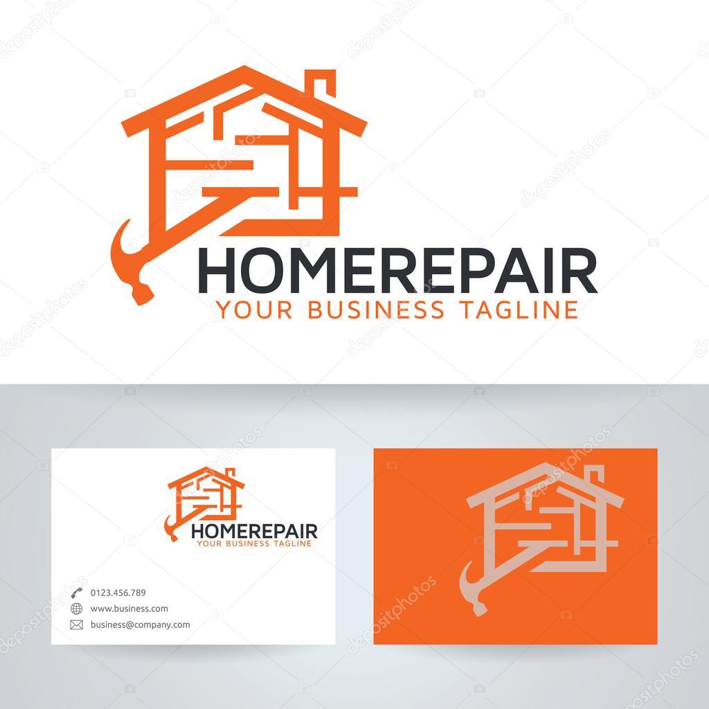 Reparación casa vector logotipo con plantilla de tarjeta de visita ...
