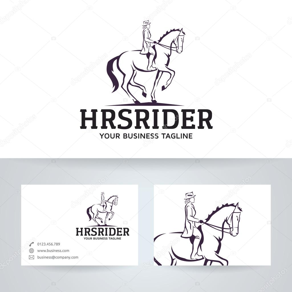 horse rider vector logo with business card template stock vector