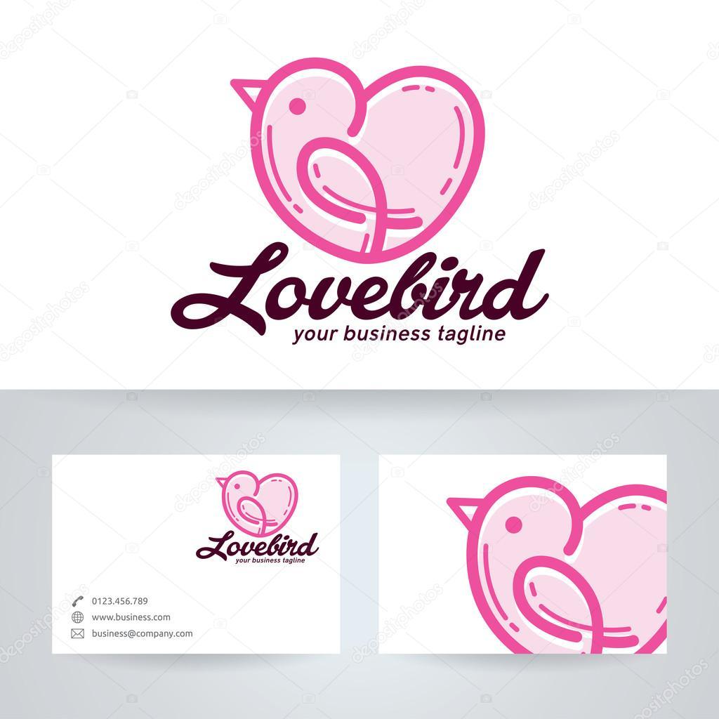 Logo Vectoriel Oiseau Avec Modle De Carte Visite Lamour Image Vectorielle
