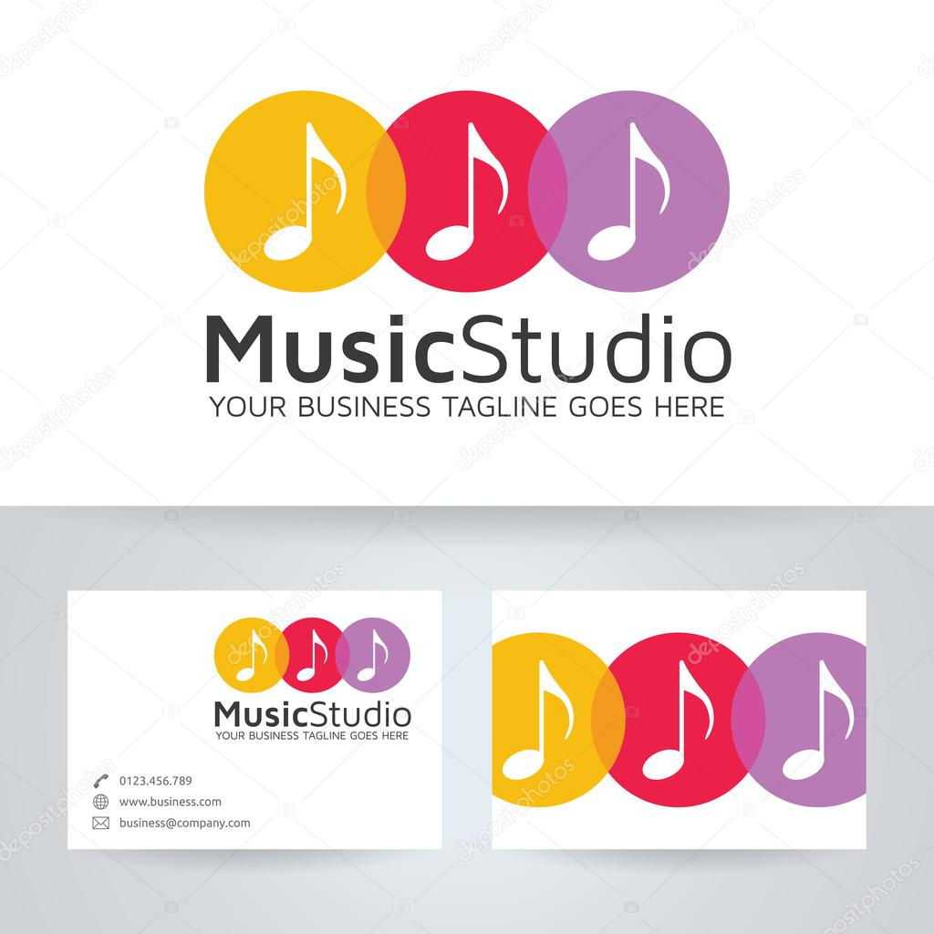Logo De Vecteur Studio Musique Avec Le Modle Carte Visite Image