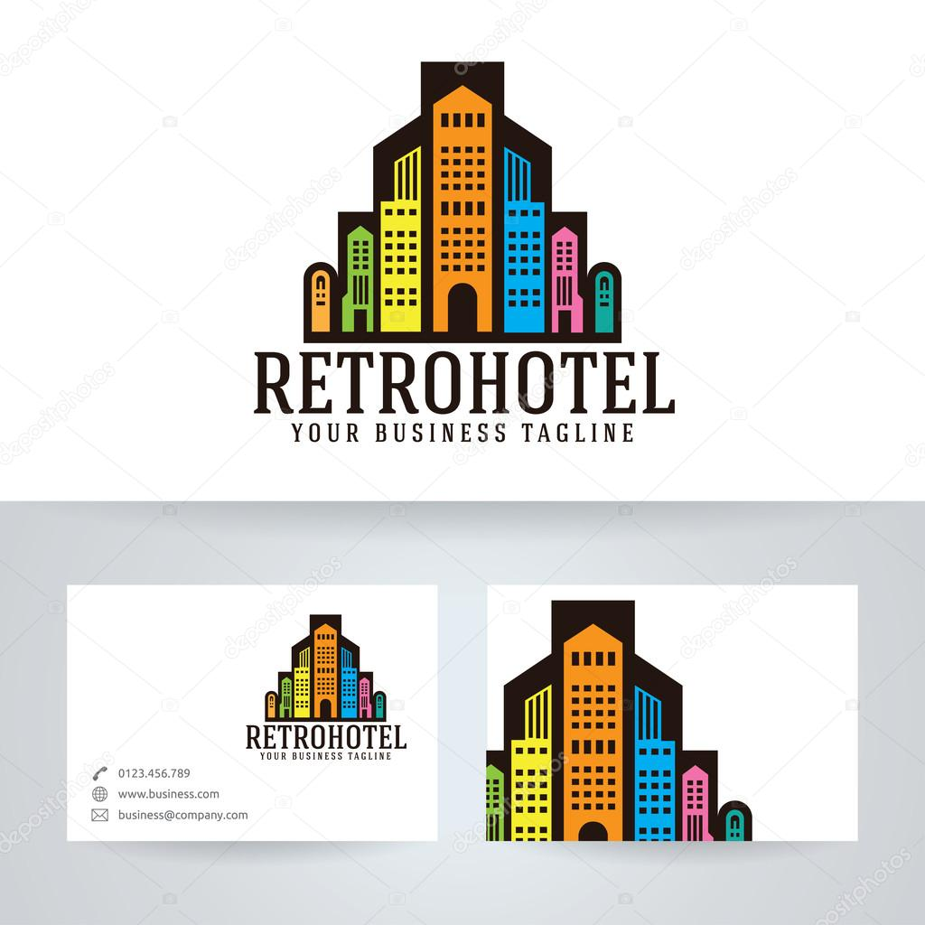 Logo Vectoriel Htel Rtro Avec Le Modle De Carte Visite Image Vectorielle