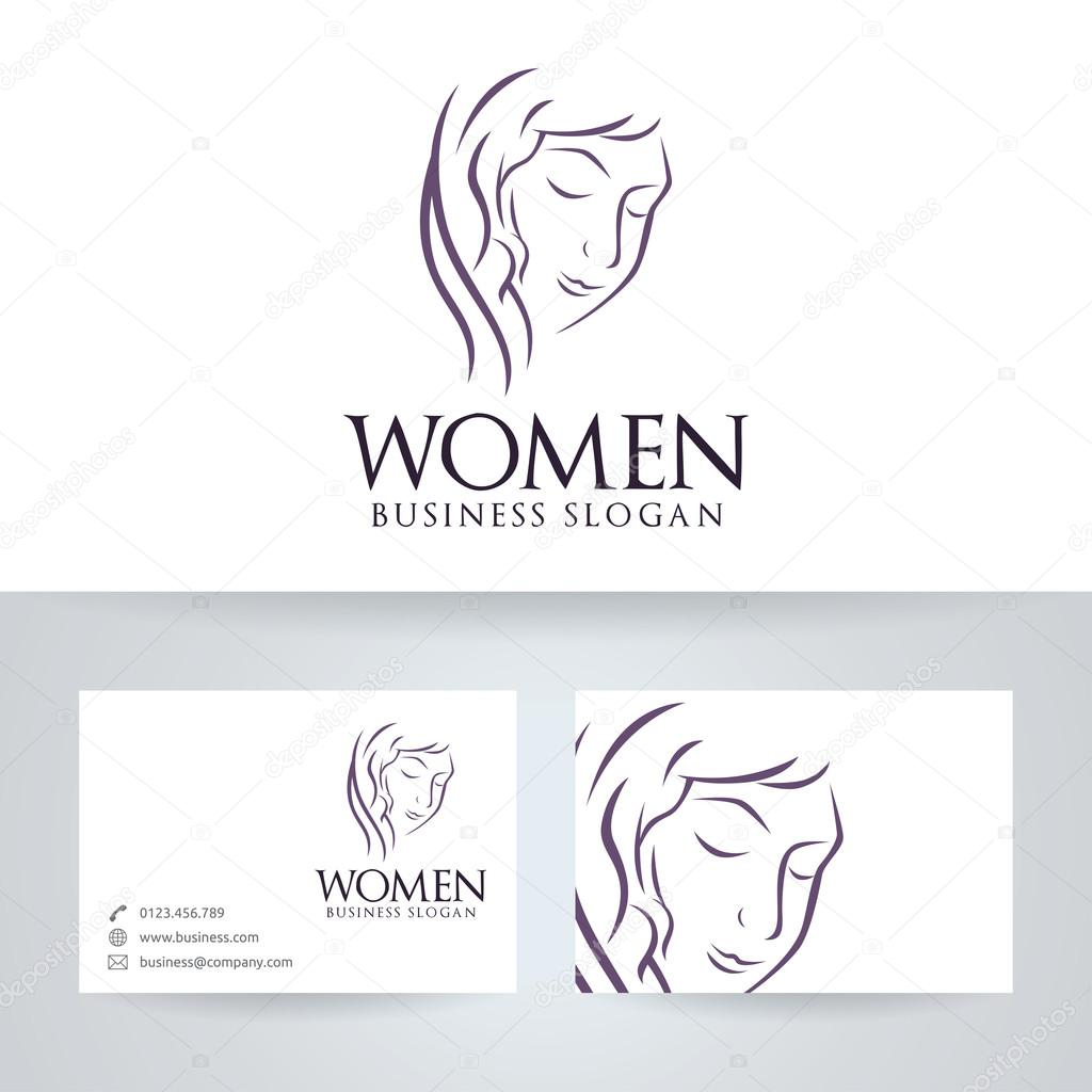 Women vector logo with business card template — Stock Vector ...