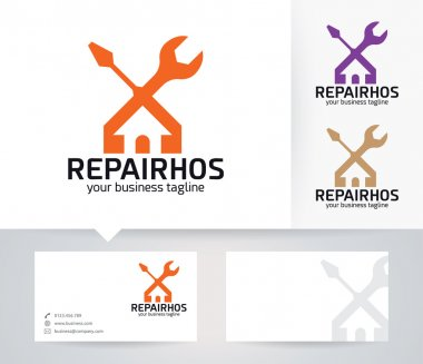 Repair House vector logo with alternative colors and business card template
