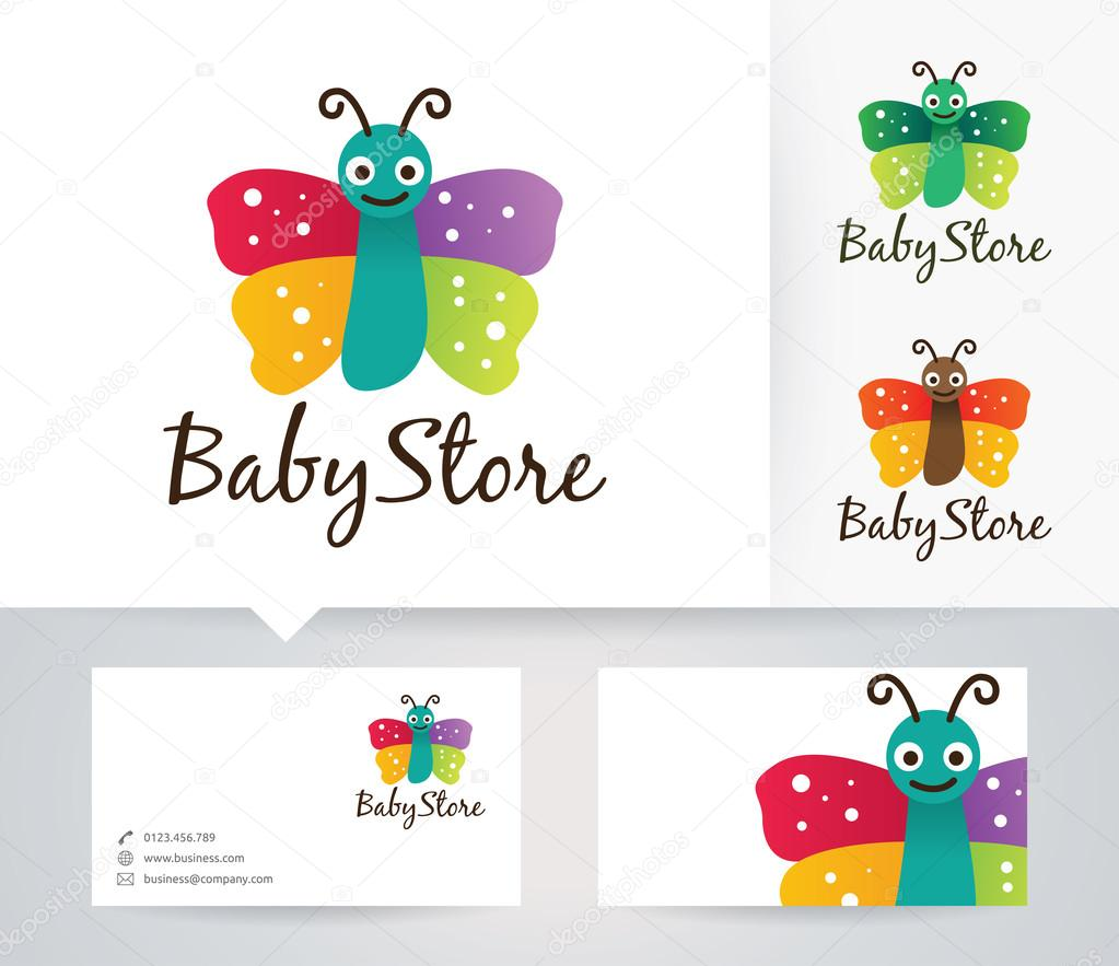 Baby Store vector logo with alternative colors and business card ...