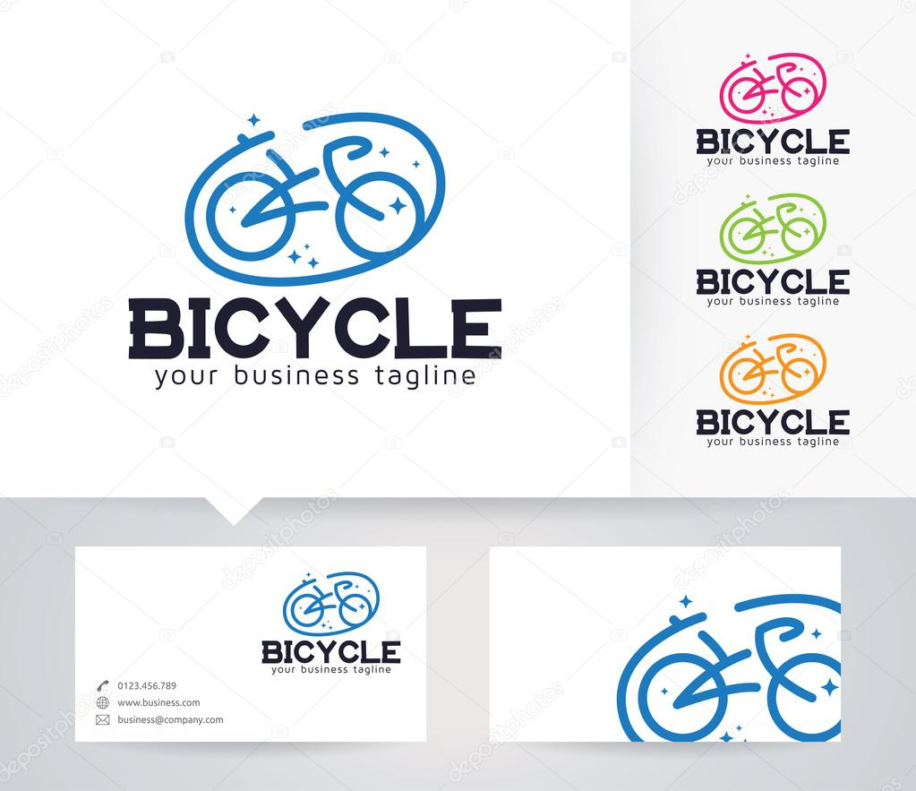 Bicycle Logo vector logo with alternative colors and business card ...