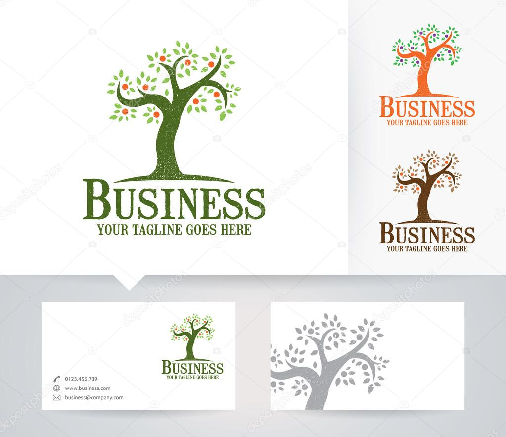 Business tree vector logo with alternative colors and business card business tree vector logo with alternative colors and business card template stock vector wajeb Choice Image