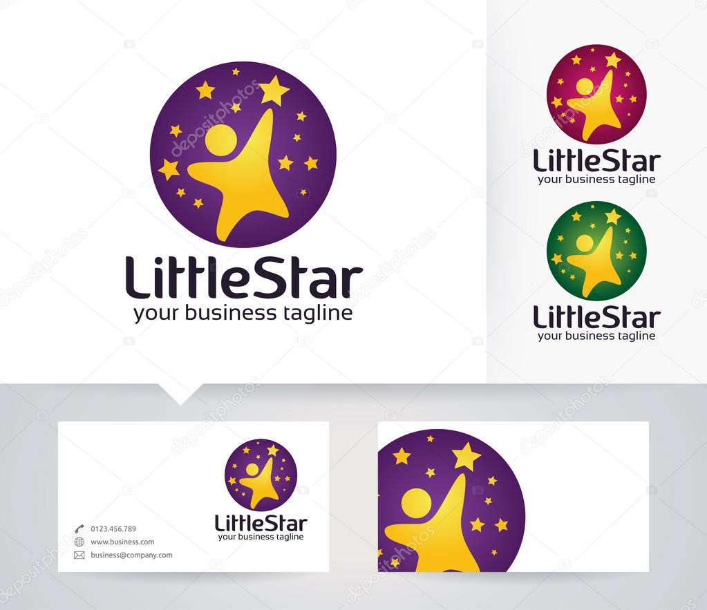 little star vector logo with alternative colors and business card