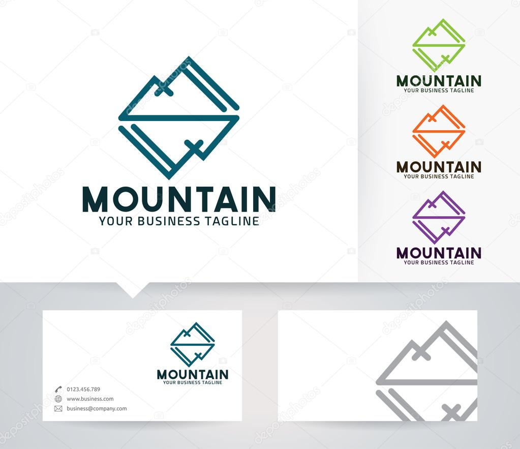 mirror mountain vector logo with alternative colors and business