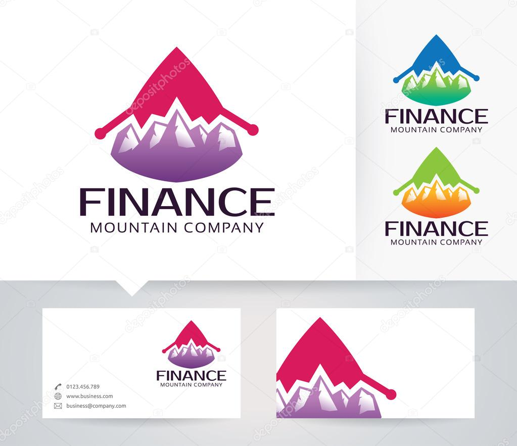 Mountain Finance vector logo with alternative colors and business card template