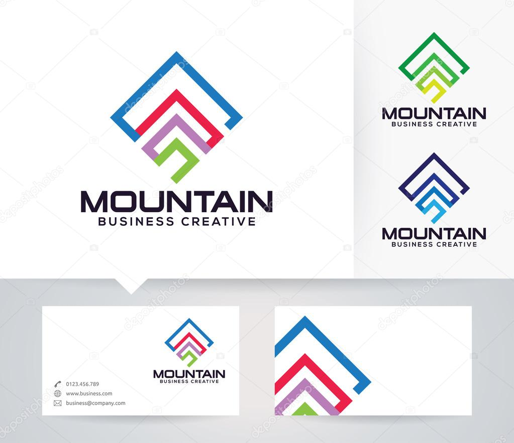 Mountain Symbol vector logo with alternative colors and business card template