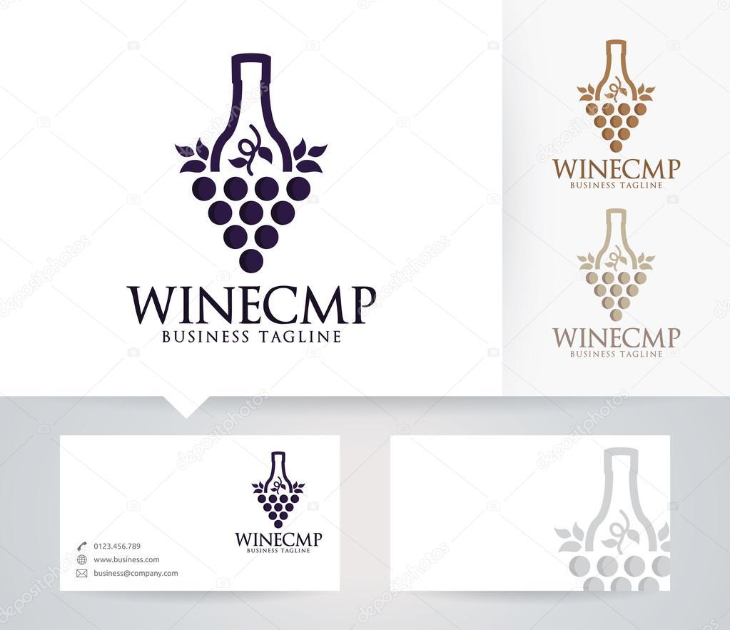 Vektor Wein Firmenlogo mit alternativen Farben und Visitenkarte ...