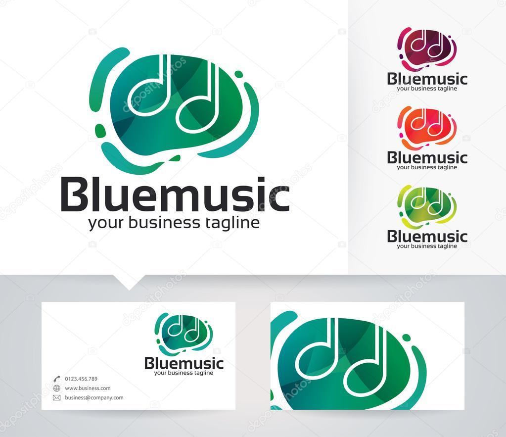 Bleu Logo Vectoriel Musique Avec Autre Modle De Couleurs Et Carte Visite Image Vectorielle