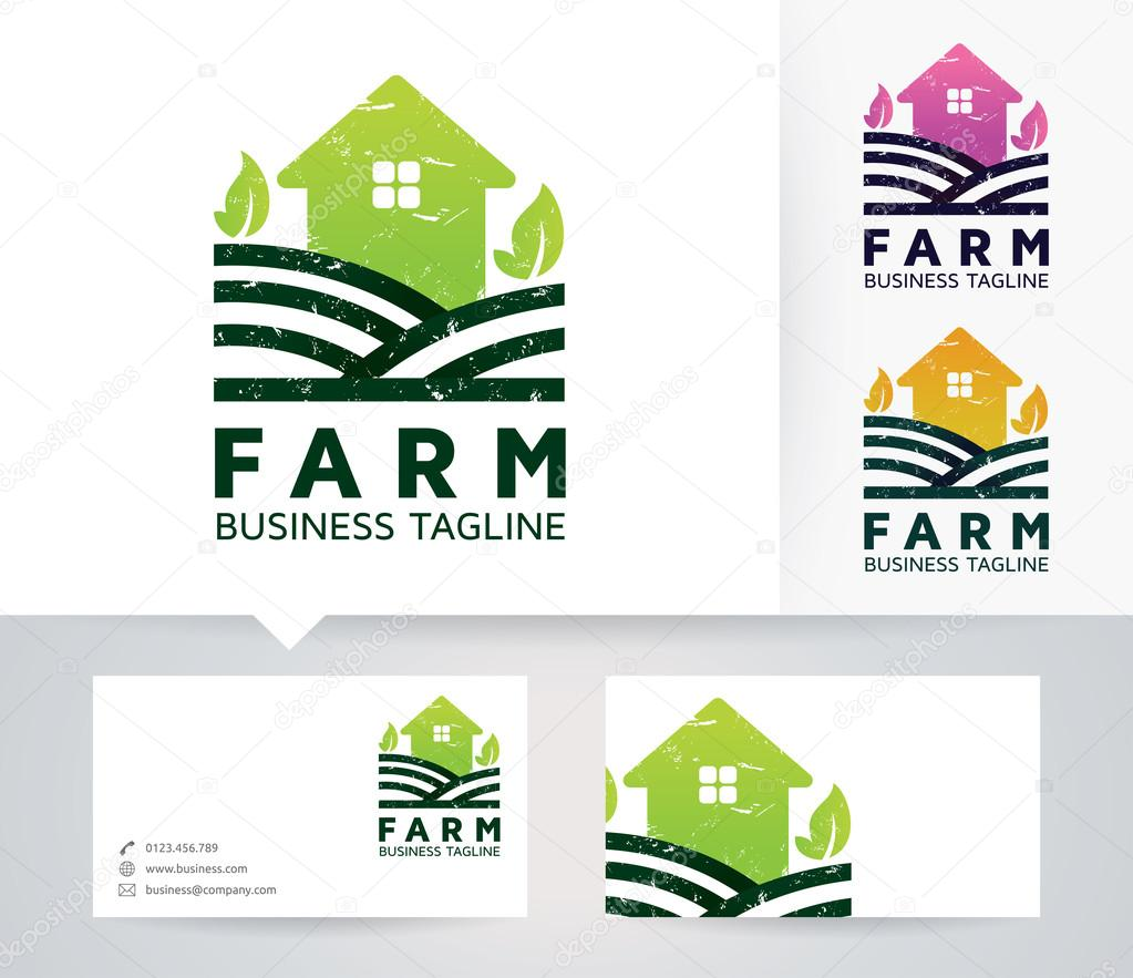 Farm vector logo with alternative colors and business card template ...