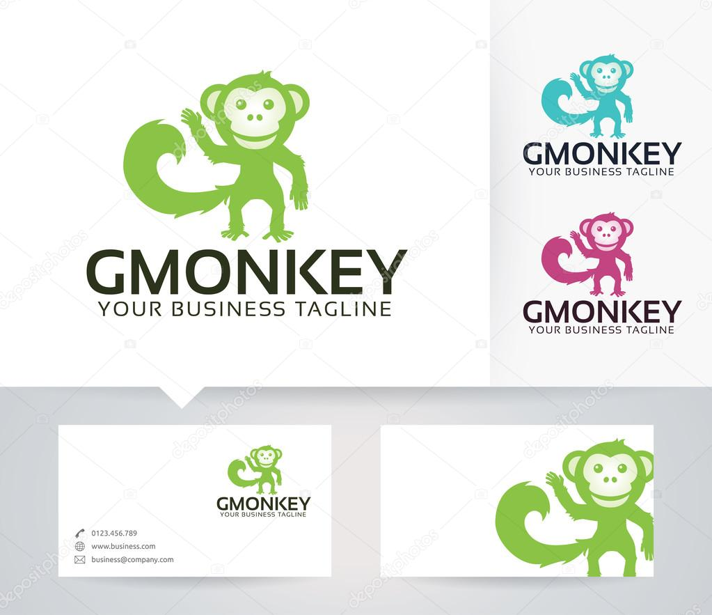 Good monkey vector logo with alternative colors and business card good monkey vector logo with alternative colors and business card template stock vector reheart Images