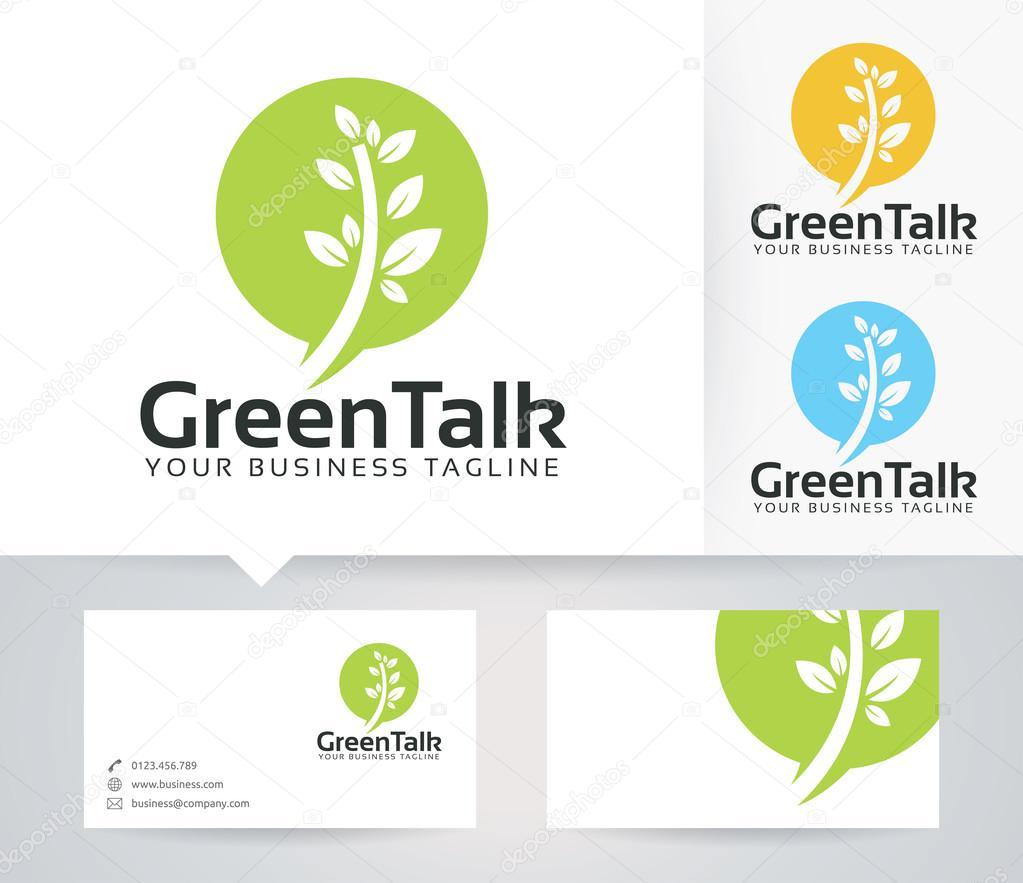 Vert Logo Discuter De Vecteur Avec Des Couleurs Alternatives Et Modle Carte Visite
