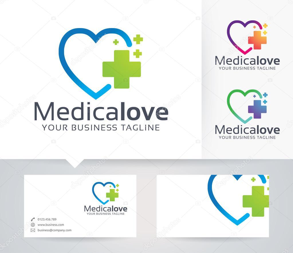 Mdicale Logo Vectoriel De Lamour Avec Lautre Modle Couleurs Et Carte Visite Vecteur Par Irfanfirdaus19yahoo