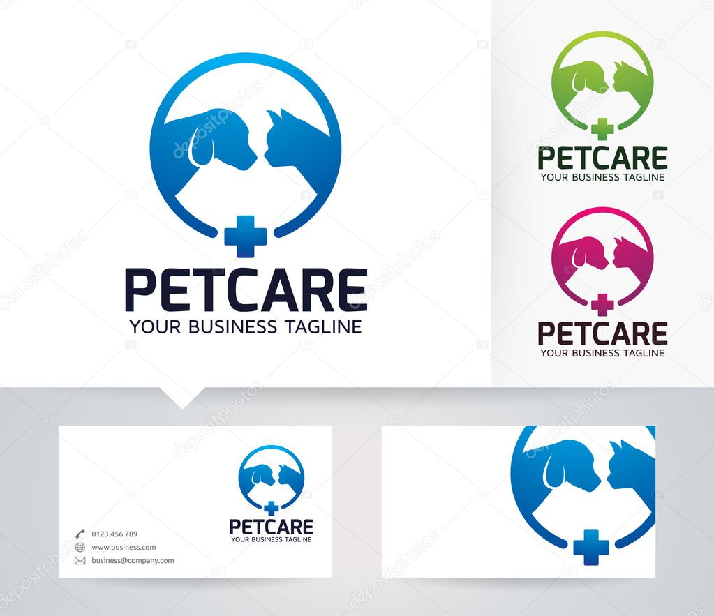 Pet Care vector logo with alternative colors and business card ...