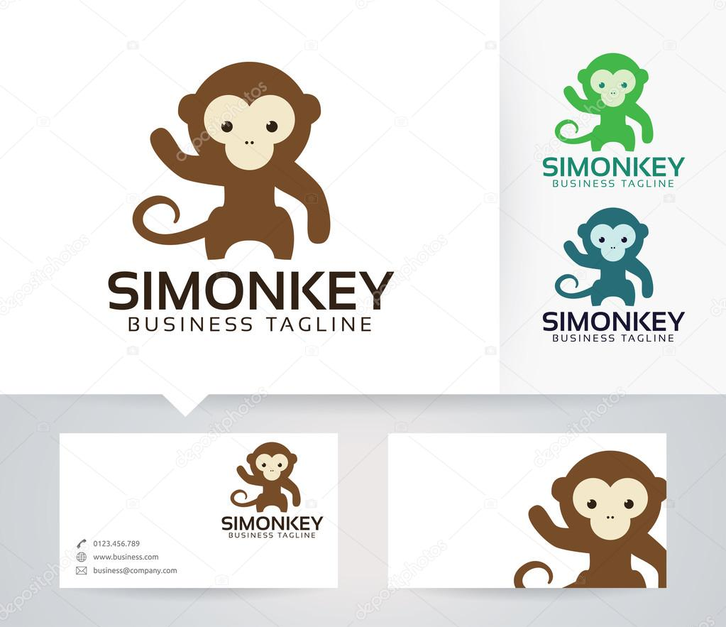 Simple monkey vector logo with alternative colors and business card simple monkey vector logo with alternative colors and business card template stock vector reheart Images
