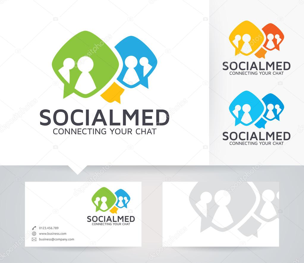 Social Media vector logo with alternative colors and business card ...