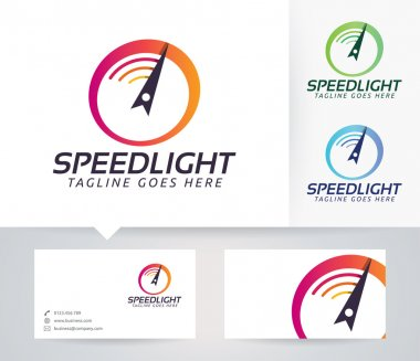 Speed Light vector logo with business card template