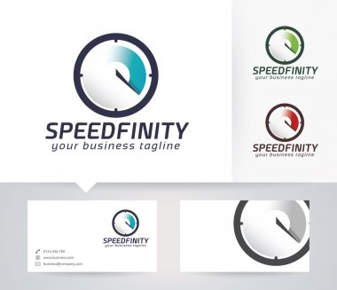Speed Infinity vector logo with business card template