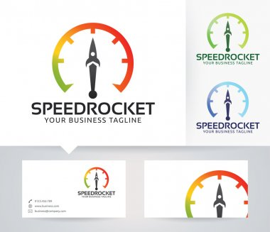 Speed Rocket vector logo with business card template