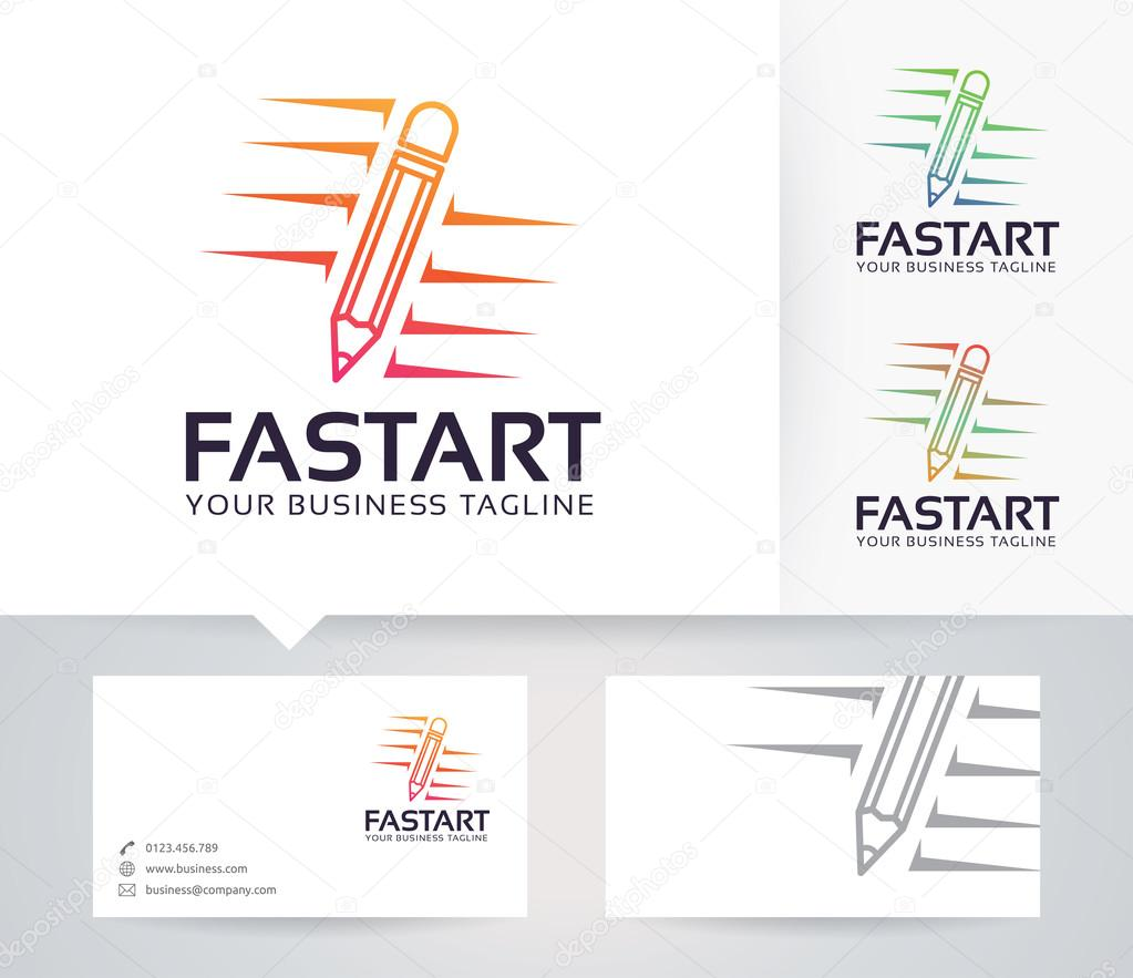 Logo De Vector Art Rapide Avec Le Modele Carte Visite Illustration Stock