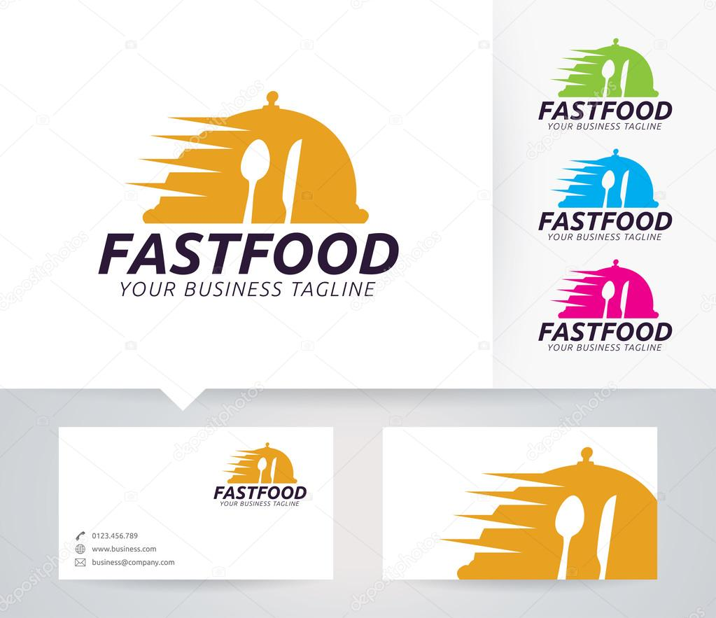 Fast Food vector logo with business card template — Stock Vector ...