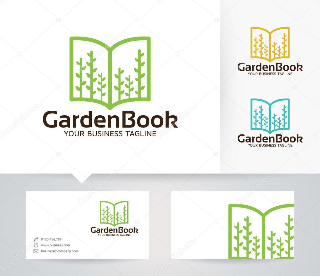 Garden Book vector logo with business card template