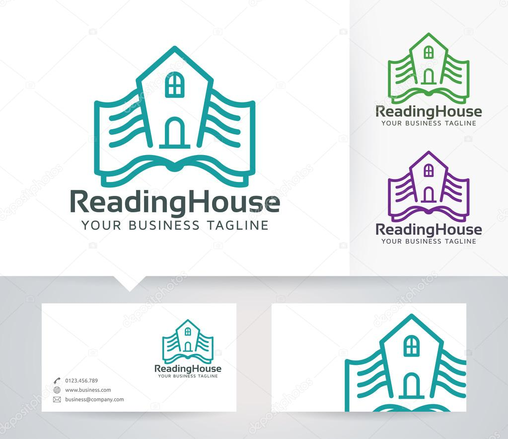 Reading House vector logo with business card template — Stock ...