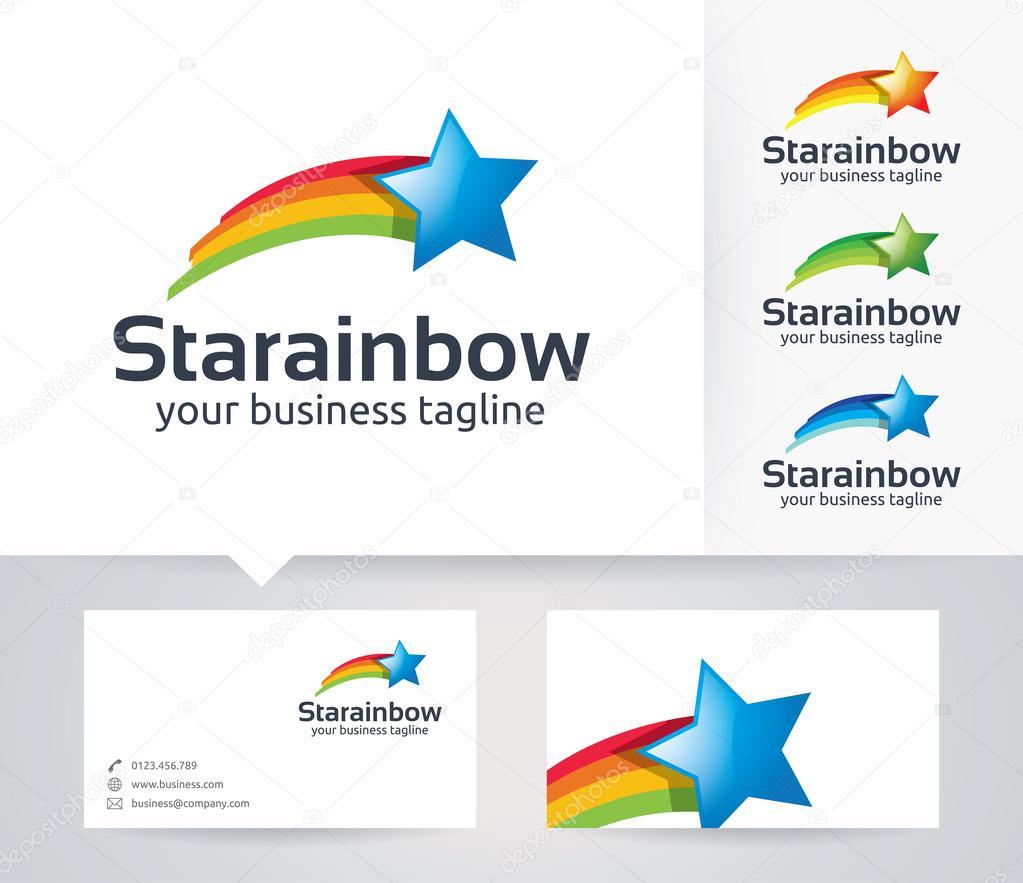 Star rainbow vector logo with business card template stock vector star rainbow vector logo with business card template stock vector reheart Choice Image