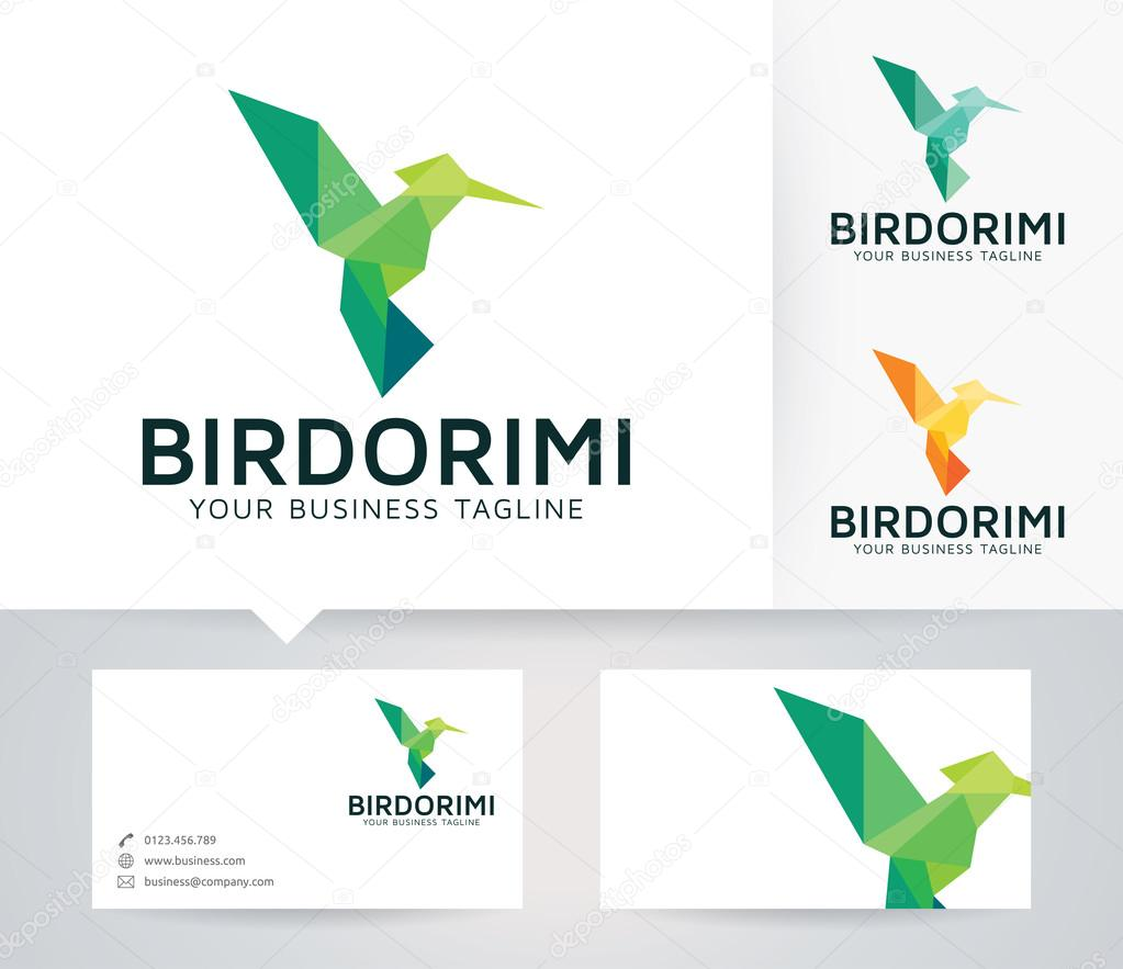 Bird Origami vector logo with business card template — Stock Vector ...