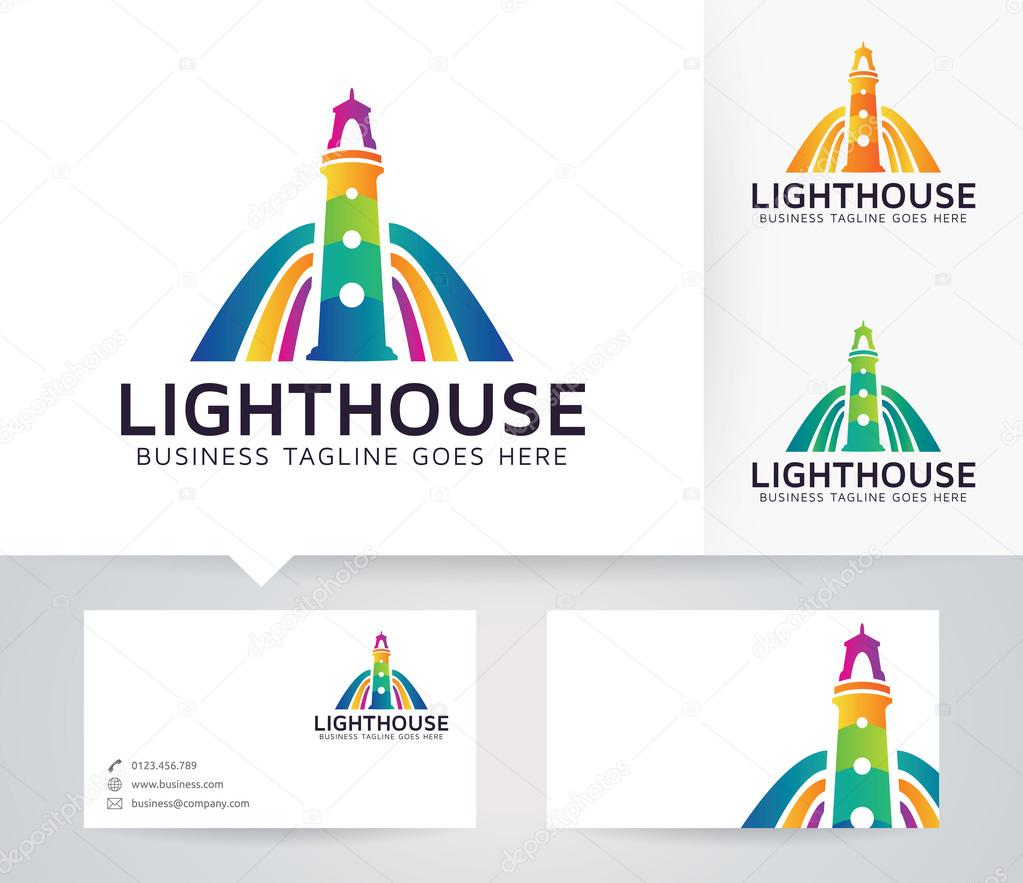 Lighthouse vector logo with business card template — Stock Vector ...