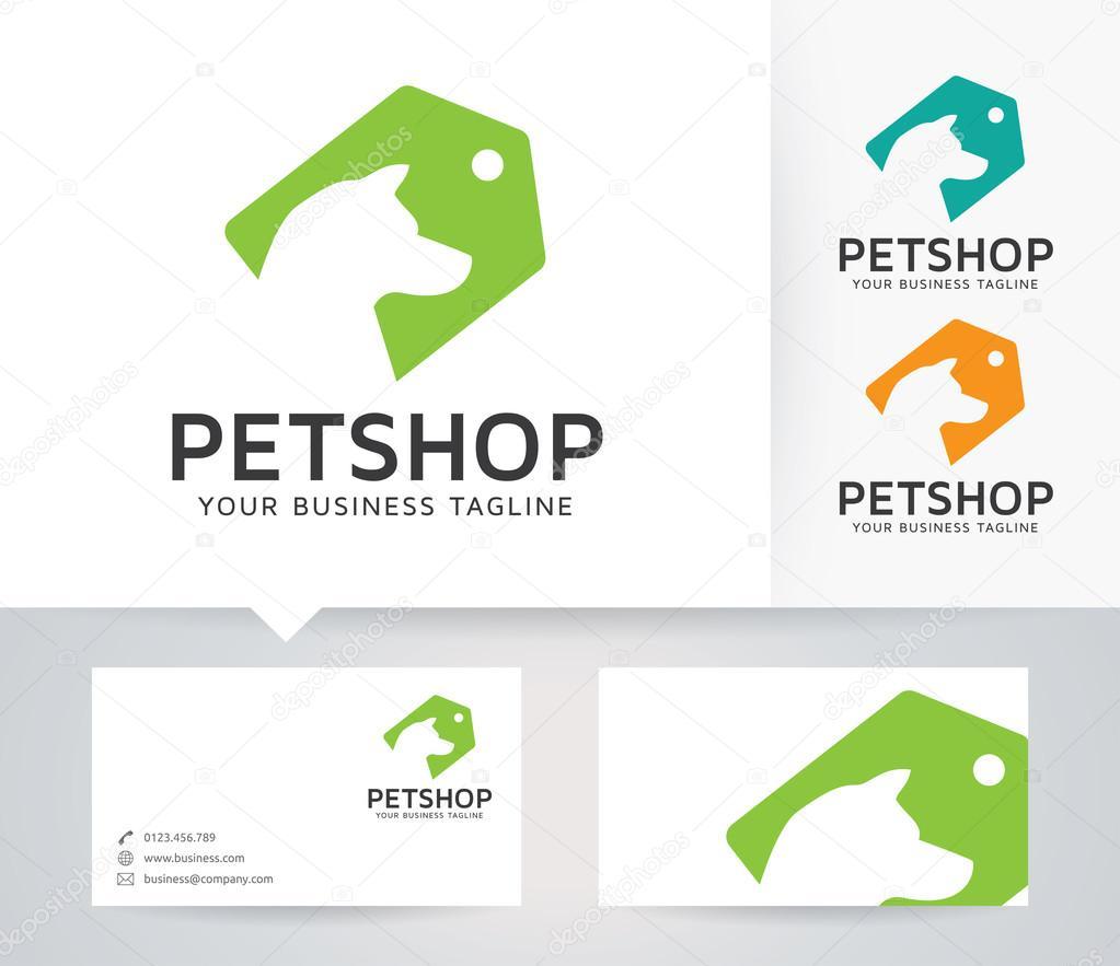 Pet Shop vector logo with business card template — Stock Vector ...