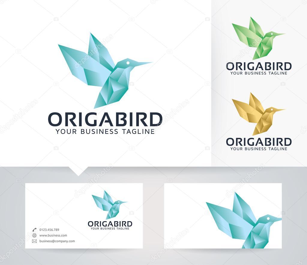 Origami Bird Vector Logo With Business Card Template Stock Vector