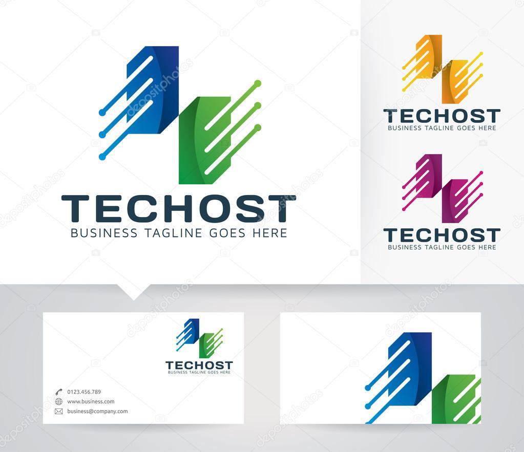 Technologie-Host-Vektor-Logo mit Visitenkarte Vorlage — Stockvektor ...