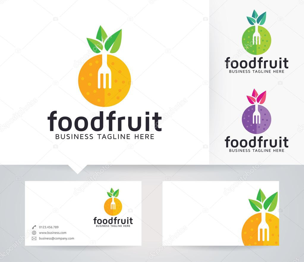 Food Fruit vector logo with alternative colors and business card template
