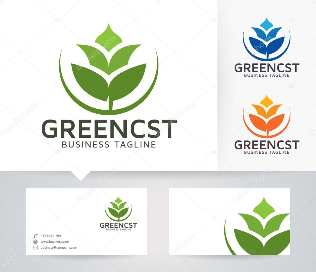 Green Consulting vector logo with alternative colors and business card template