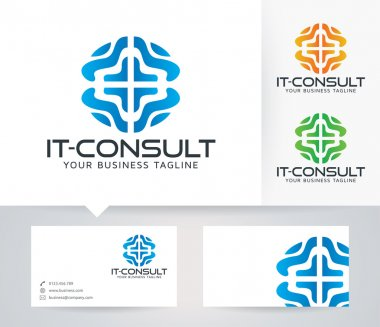 IT - Consulting vector logo with alternative colors and business card template