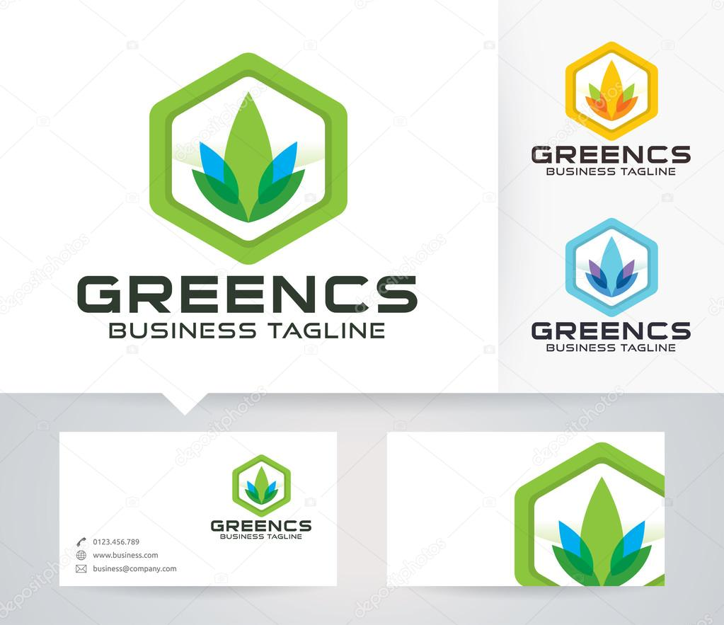 Green Consult vector logo with alternative colors and business card template