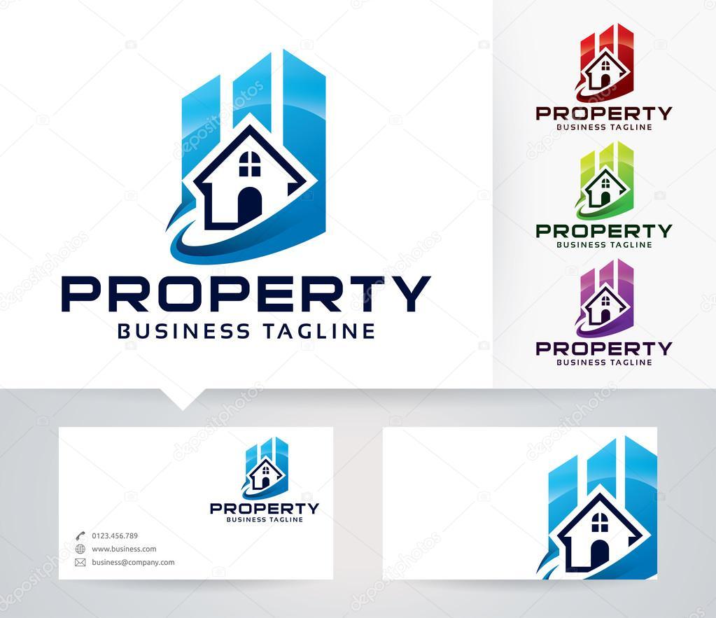 Eigenschaft-Vektor-Logo mit alternativen Farben und Visitenkarte ...