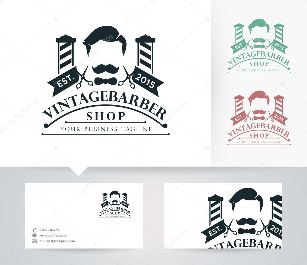 Vintage barber shop vector logo with alternative colors and business vintage barber shop vector logo with alternative colors and business card template stock vector wajeb Image collections