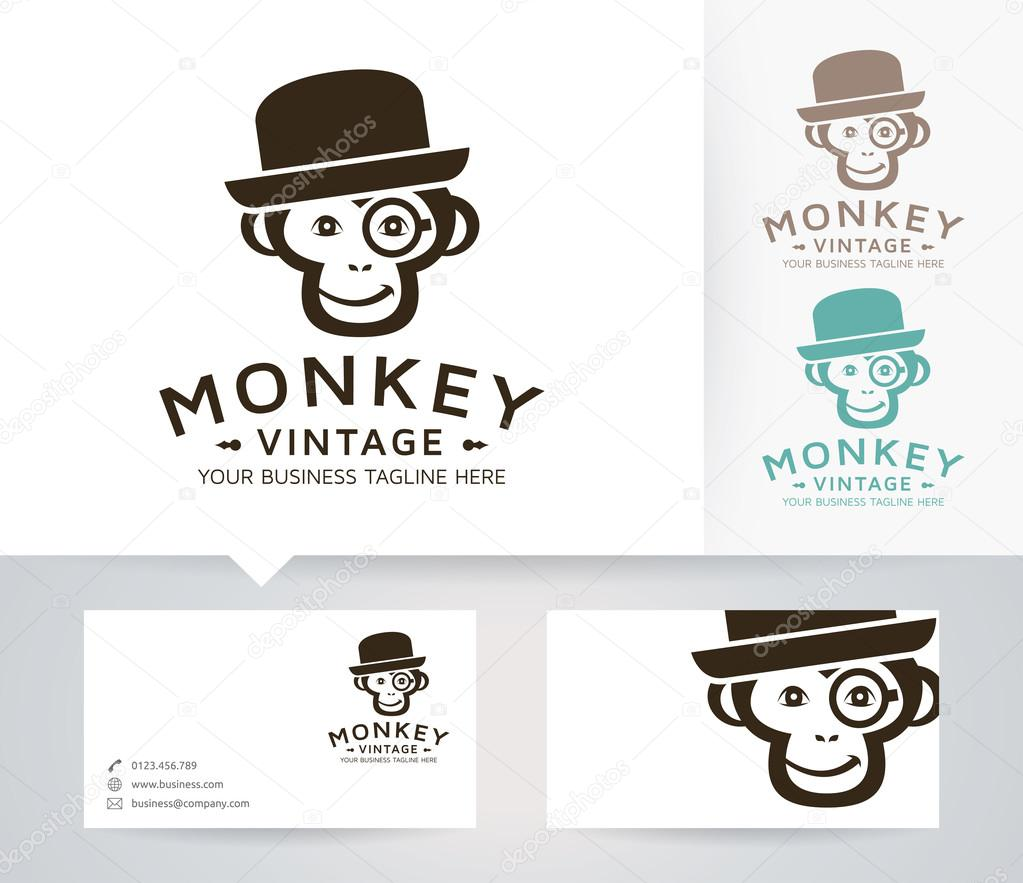 Vintage monkey vector logo with alternative colors and business card vintage monkey vector logo with alternative colors and business card template stock vector reheart Images