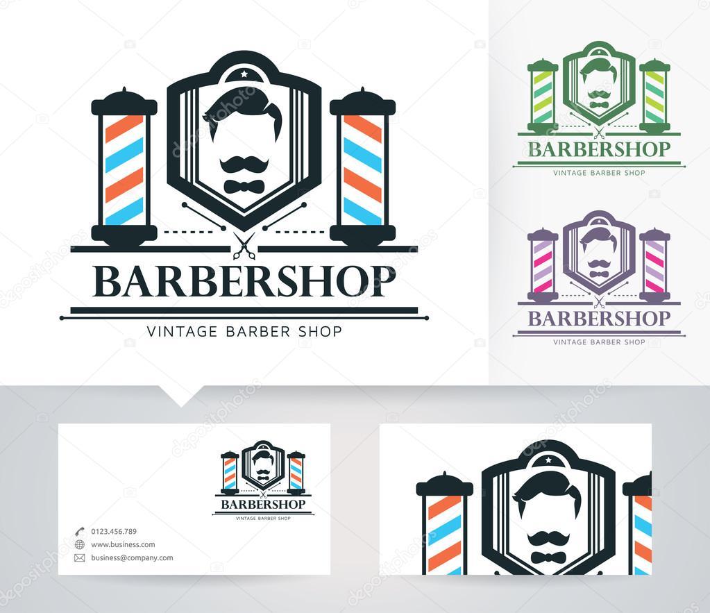 Herr Babershop-Vektor-Logo mit alternativen Farben und Visitenkarte ...